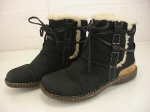 Women's 8 M UGG 5587 La Jolla Black Sheepskin Shearling Fur Boots Leather Ankle