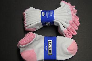 4 Pair's 9-11 Heavy Low Ankle Cotton Socks Men's Women's White Pink Gray Purple