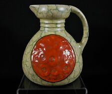 Vintage CZECH Dittmar Urbach Marble Green Alienware Art Deco Pottery Pitcher