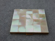 Mother of Pearl Tile On Brass Vintage Estate Loose Powder Mirror Compact