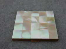 Mother of Pearl On Brass Vintage Estate Loose Powder Mirror Compact