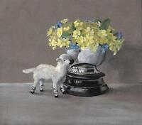 VASE WITH FLOWERS & TOY Superb Watercolour Painting STILL LIFE