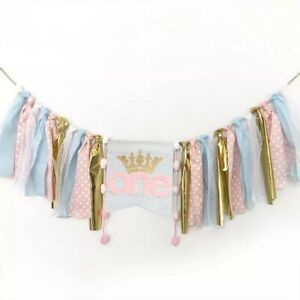 1st Birthday Decorations Banner One Balloons Princess Party Hessian Rustic First