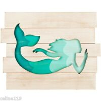 Turquoise Mermaid Cut-Out Wood Wall Plaque Nautical Home Decor