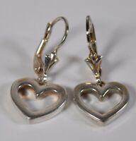 Milor Sterling Silver Open Heart Drop Earrings Signed