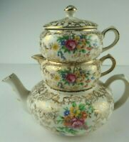 Lord Nelson Ware #2528 Floral Stacking Teapot Chinz 4 pc Complete Set Vintage