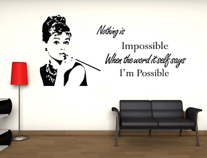 Adesivo Audrey Hepburn i'm possible impossible stickers murale parete frasi