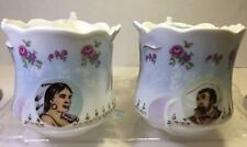 Antique Shaving Mugs, Lot Of 2 Native American & ?Explorer Fancy 3 3/4 x4 1/2
