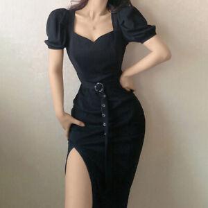 Sexy Womens Short Puff Sleeves Dress Square Neck Side Split Slim Fashion Dresses