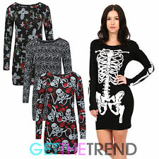Womens Halloween Skeleton Print Mini Midi Dress Top Spooky Fancy Dress Costume