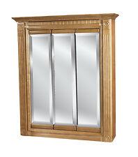 24x30 Tri-view mirrored Oak Medicine Cabinet