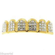VIP Grillz Iced-Out Six Tooth Top Upper 14k Gold Plated Princess-Cut Teeth Grill