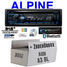 Autoradio Radio Alpine für Audi A3 8L BOSE | Bluetooth DAB+ CD/USB/MP3 Einbauset