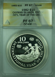 1982 Cayman Islands $10 Silver Proof Year Of Child Coin ANACS PF-67 DCAM (WB1)