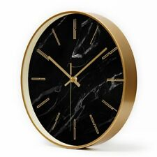 Marble Wall Clock Home Decorative Metal Living Room Kitchen Hanging Quartz Watch