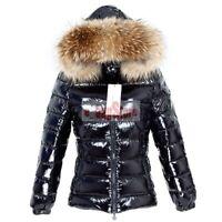 Fashion Women's 90% White Duck Down Jacket Real Raccoon Fur Hooded Parka Coat