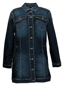 DG2 by Diane Gilman Women's Sz L Stretch Long Denim Jacket Blue 715065