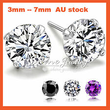 925 SILVER MEN WOMEN KID ROUND CRYSTAL LAB SIMULATED DIAMOND STUD EARRINGS GIFT