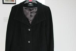 Women's Planet Black Long Wool Cashmere Blend Coat - Size UK 18