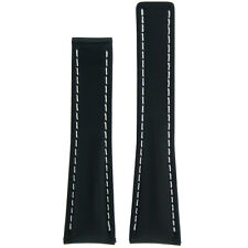 22mm Black Leather Watch Band Fits Breitling 18mm Deployment buckle
