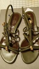 ALEXANDER MCQUEEN  GREEN STRAPPY SANDALS 35/5 US