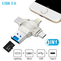 USB 3.0 OTG TF Card Reader Adapter Flash Drive Type C For iPhone Android PC
