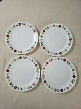 "Set of 4 Corelle Corning 10 1/4"" Dinner Plates Spring Pink Pattern EUC"