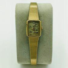 Vintage Disney Mickey Mouse Gold Face Diamond Lorus Quartz Ladies Wrist Watch
