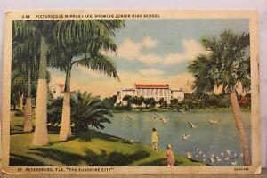 Florida FL St Petersburg Mirror Lake Sunshine City Junior High School Postcard