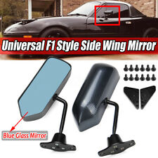 Pair F1 Style Manual Adjustable Carbon Fiber Look Side View Mirror Metal Bracket