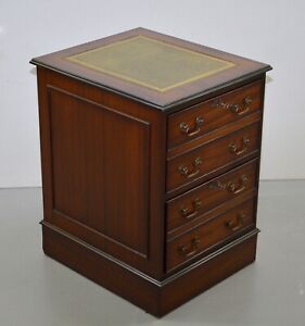FLAMED MAHOGANY OFFICE FILING CABINET WITH GREEN LEATHER TOP