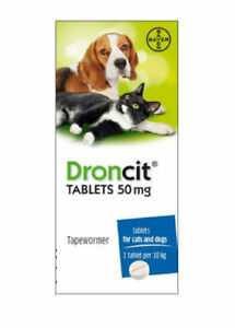 1 Droncit Tablet For Cats And Dogs Tapeworm DeWormer Worming Tablet