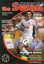 Swansea City v Southend Utd  4 Feb 2005 FOOTBALL PROGRAMME