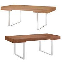 Mid-Century Modern Wood Stainless Steel Office Desk In Walnut Or Natural Veneer