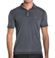 John Varvatos Star USA Men's Short Sleeve Peace Sign Polo Shirt Shark Grey