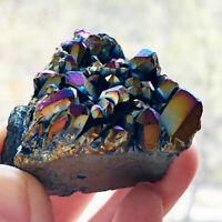 Natural Crystal Quartz Cluster Rainbow Titanium Mineral Specimen Healing Random