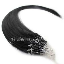 100 Micro Loop Ring Beads I Tip Indian Remy Human Hair Extensions Black #1 0.8g