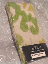 Set of 4 Kim Seybert Green Beige Napkins Multicolor ~100% Cotton ~ FREE Shipping