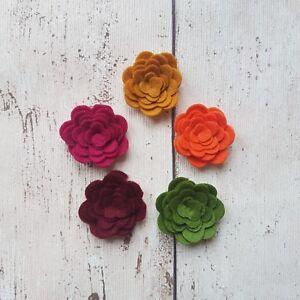 Autumn Felt Roses, Die Cut Felt Flowers, 3D Roll Up Flowers