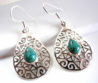 Turquoise Earrings Floral Accented Filigree 925 Sterling Silver Dangle Drop New
