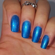 SAPPHIRE BLUE Shiny Nail Polish with Hints of Micro fine Holographic Glitters