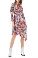 Topshop Pop Floral Ruffle Pink Romantic  Midi Dress Asymmetrical Sz  8 $130