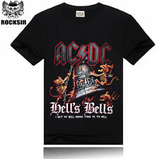 Men's 3D rock Devil bell T-Shirts Tops Short Sleeve Crew Neck Fit Tee SZ M-3XL
