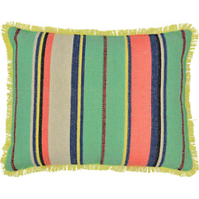 Alyssa Jacquard Pillow 14X18 Country Stripe Bright Aqua Blue Yellow Pink