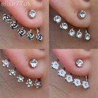 NEW SILVER STAR ROSE FLOWER DIAMANTE CRYSTAL EAR CUFF CARTILAGE STUD EARRING UK