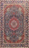 Vintage Floral Hand-knotted Tebriz Area Rug Traditional Oriental Wool 7x9 Carpet