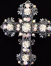 AB CLEAR SILVER VICTORIAN RELIGIOUS CHURCH CROSS  PIN BROOCH SLIDE PENDANT 2.25""