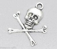 30 Silver Tone Halloween Skull Charms Pendants 24x21mm