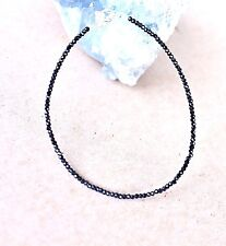 2- 2,2 mm Schwarz Spinell Edelstein  Armband,19 cm .Silber ( BM-51)