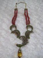 "HEIDI DAUS ""For The Birds"" (Simul.Carnelian) Beaded Necklace (Orig.$289.95)"